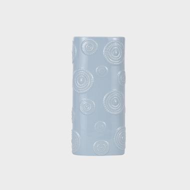 圈圈淺藍色寬口花瓶