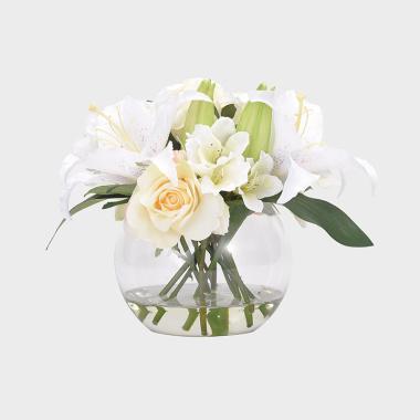 寵愛-玻璃花器白色百合水花