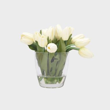 素颜-玻璃花器白色郁金香水花