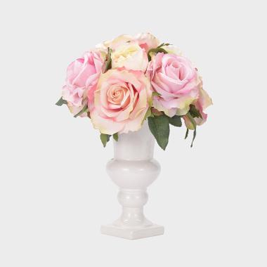 傾城-陶瓷花器粉紫色玫瑰盆花
