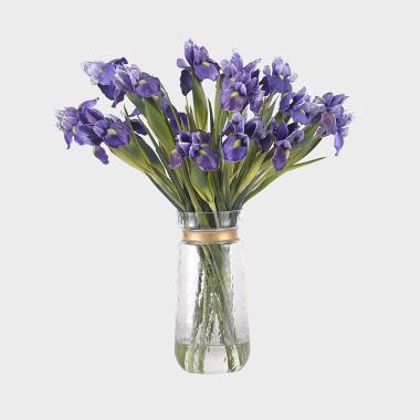 旖旎-玻璃花器紫色鸢尾水花