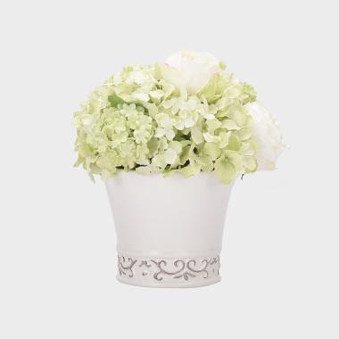 如愿-绿色绣球玫瑰盆花