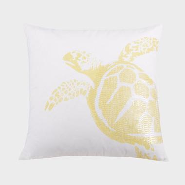 深海徜徉-檸檬黃海龜裝飾枕