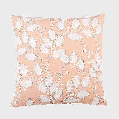 叶之声-珊瑚色装饰方枕