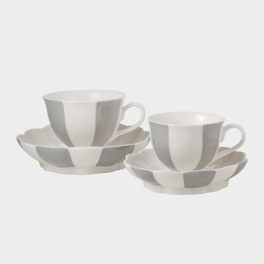 休闲时光-灰色条纹杯碟4件套