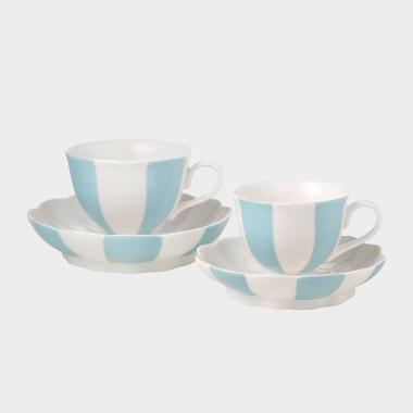 休闲时光-蓝色条纹杯碟4件套
