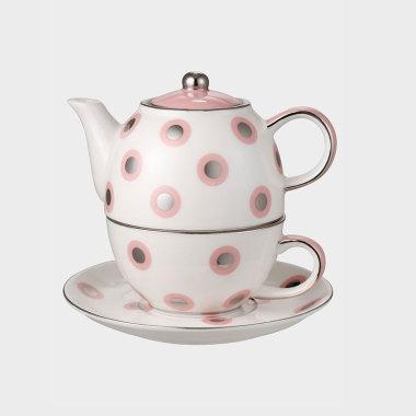 休閑時光-粉色波點杯壺碟3件套