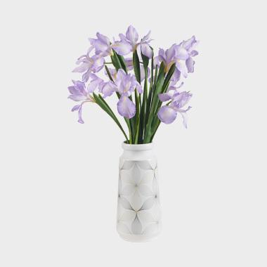 翩仙-紫色鸢尾陶瓷盆花