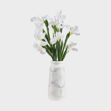 翩仙-白色鸢尾陶瓷盆花