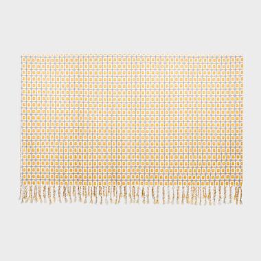 弥生若梦黄色编织毯