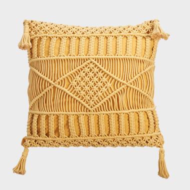 仟仟黄色手工编织方枕