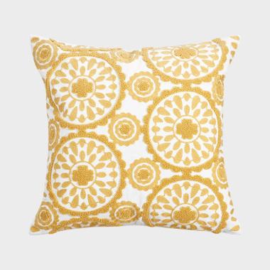 万花筒黄色绣花方枕